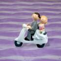 Svatební figurka 12cm - na mopedu